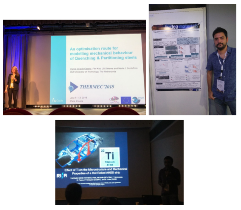 OptiQPAP consortium members presenting at the THERMEC 2018 Conference. From left to right: Dr. Carola Celada (TUDELFT), Pablo Garcia Chao (IMDEA), Dr. Ali Smith (CSM).