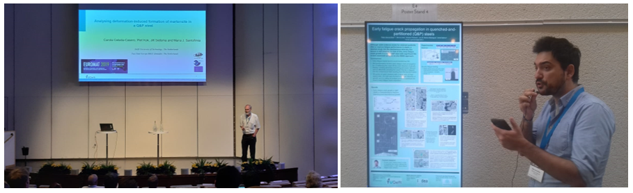 (left) Prof. Jilt Sietsma is giving a talk, (right) Pablo Garcia Chao is presenting his poster at the EUROMAT 2019 Congress.
